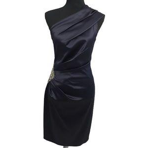 Eliza J Dresses - Eliza J Navy satin one sholder embellished  dress